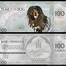 YEAR OF THE DOG - Flexible 5 Gram Silver Lunar Note - 2018 Mongolia 100 Togrog