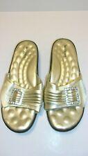 Walking Cradles Gold Slip On Sandals with Rhinestone Buckle Size 9WW