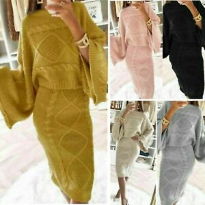 Chunky Cable Knitted Baggy Two Piece Skirt Suit Set Top Loung Wear  Ladies Women