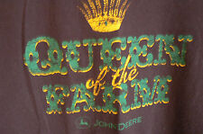JOHN DEERE 'QUEEN OF THE FARM' CHOCOLATE BROWN T-SHIRT-WOMENS LARGE-SUPERB COND