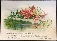 Trade Card ~ Samuel Richards Optician & Watchmaker South Paris ME ~ Astigmatism