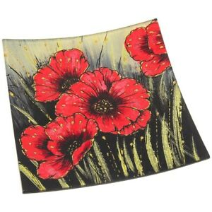 Red Poppy Flower Glass Square Small Plate Tray