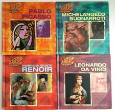 Famous Artist Art Biographies Pablo, Michelangelo, Pierre, Leonardo Set of 4