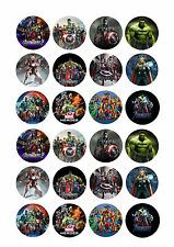 24 x Marvel Avengers Cup Cake Toppers Rice/Wafer Paper