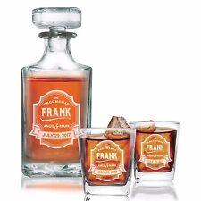 Custom Engraved Whiskey Decanter Set with 2 Whiskey Glasses, Gifts for Groomsmen