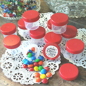 24 Red Cap Top Lid Plastic Small 1oz Hummingbird Feeder Jars Container Herb USA