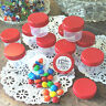 28 Plastic Small 1oz Jars Container Candy Lotion Makeup Herbs DecoJars 4304 RED