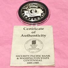 Security Pacific Bank Washington Coin 1 Troy Oz .999 Fine Silver Rare Round COA
