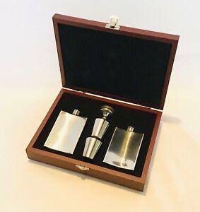 Stainless Steel Hip Flask Gift Set In Presentation Case 4oz Drinking Spirits