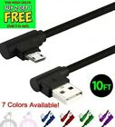10FT 90 Degree Angle Fast Charge Micro USB Cable Cord Charger PS4/Mobile Device