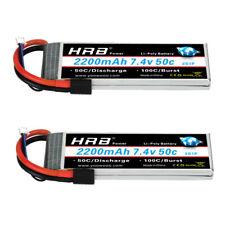 2pc HRB 7.4V 2200mAh LiPo Battery 50C for Traxxas 1:16 Slash E-Revo Summit Rally
