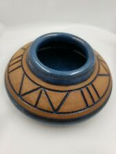 Signed Studio Art Pottery Piece Blue And Natural Clay Color