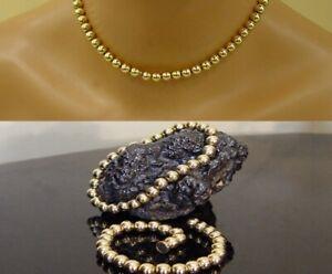 14K Yellow Eterna Gold (2) 7mm Bead Ball Bracelets Choker Necklace Magnet Clasp