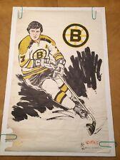 Vintage Jim Dobbins Poster Phil Esposito Boston Bruins NHL Pin-up 1970's Cartoon