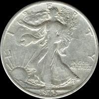 "A 1945 P Walking Liberty Half Dollar 90% SILVER US Mint ""Average Circulation"""