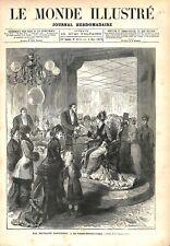 Paris Exposition Fauteuil Balance à Tickets Grand Magasin du Louvre GRAVURE 1879