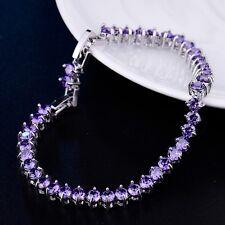 Bling White Gold Filled Purple Swarovski Crystal Beaded Chain Tennis Bracelets