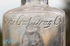 Old OWL DRUG Co w/ SPELLING ERROR embossed G-wl not O-wl ANTIQUE bottle,
