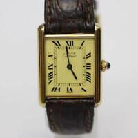 Cartier Must Tank Vermeil 590005 Quartz SV925 square yellow gold Excellent+++