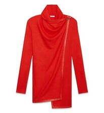 Helmut Lang Sonar Wool Leather Toggle Cardigan Sweater Jacket Vein Red P XS