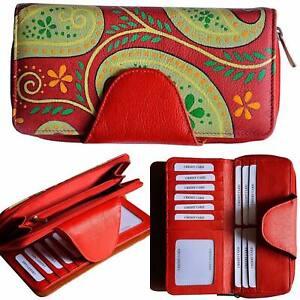 Leder Brieftasche Hand bemalt Portemonnaie Geldbörse mit Drei Fächer Rot Unikat