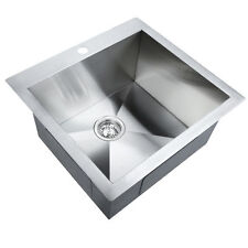 Stainless Steel Kitchen Laundry Sink with Strainer Waste 530 x 500mm