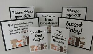 Woodland Creature's 7 Piece STAND UP Cardstock Baby Shower Party Table Signs!