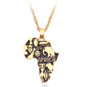 Afrika Anhänger gedrehte Halskette Gold afrikanischer Kontinent Musterung