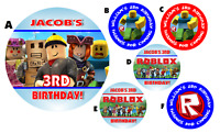 ROBLOX PERSONALIZED ROUND LABELS BIRTHDAY PARTY STICKERS FAVORS ~VARIOUS SIZES