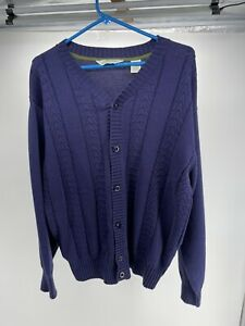 Orvis Cable Knit Cardigan Sweater Mens Large Navy Blue Long Sleeve Cotton