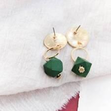 Minimal Geometric Korean Round Metal Pendant Brown Green Wood Long Earrings r