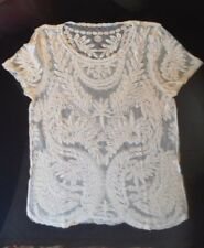 STUNNING Beige Cream lace Summer Top short sleeved Free people Festival 10 -12