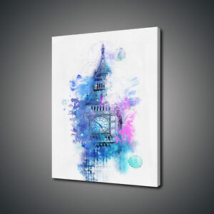 BIG BEN LONDON WATERCOLOUR PAINTING STYLE CANVAS PRINT WALL ART PICTURE PHOTO