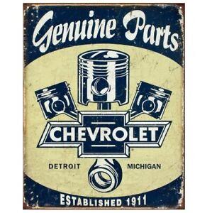 "Chevrolet -Chevy Genuine Parts Pistons Retro Vintage Metal Tin Sign 16"" x 12.5"""