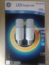GE LED Bright Stik Soft White 100w Non-Dimmable Replacement Bulbs 2-Pack NEW