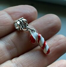 Red White Candy Cane Xmas Christmas Dangle Bead fit European Charm Bracelets