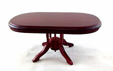 Dolls House Miniature Dining Room Furniture Oval Mahogany Table