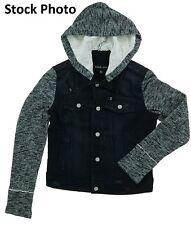 Black Rivet Women's Button Closure Hooded Denim Jacket Large Distressed Black