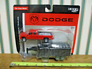 Red Dodge Ram Pickup With Gooseneck Grain Trailer By Ertl 1/64th Scale >