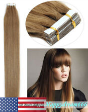 """Women Hair Extensions Seamless Tape in Skin Weft Remy Human Hair Light Brown 16"""""""