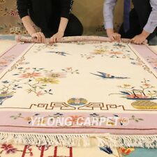 YILONG 4'x6 Pink Handmade Wool Carpet Floral Chinese Art Deco Hnadwoven Area Rug