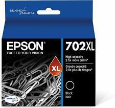 Epson Genuine T702XL120-S 702XL Black Ink Cartridge Sealed RETAIL BOX Exp 2021