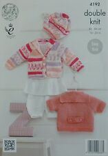 KNITTING PATTERN Baby Easy Knit Cardigans & Beret DK King Cole 4192