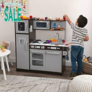Kids Play Cooking Kitchen Toy Toddler Set Pretend Fun For Girls Boys Espresso