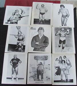 "NINE ORIGINAL 1950's 8"" x 10"" B&W PROFESSIONAL WRESTLING PHOTOS - 2 SIGNED"