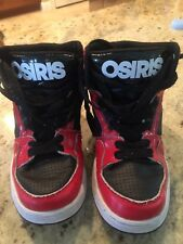 Osiris Kids Boys Size 1 Youth Red Black White BMX DC Skate Shoes Sneakers