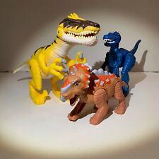 "Lot of 3 JW Jurassic World Dinosaurs 7"" Raptor Lights and Roars"
