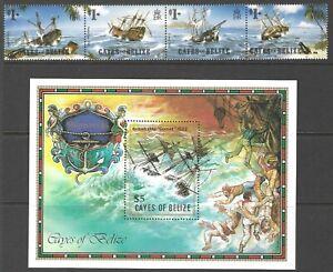 CAYES OF BELIZE :1985 Shipwrecks strip + sheet SCOTT 26+27 MNH