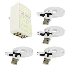 4 Port 3.1 Amp Fast Rapid Wall Travel AC Charger 4X Data USB Cable for Phones