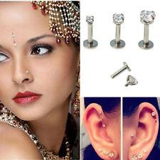 Fashion Crystal Round Tragus Lip Ring Ear Cartilage Stud Earring Body Piercing